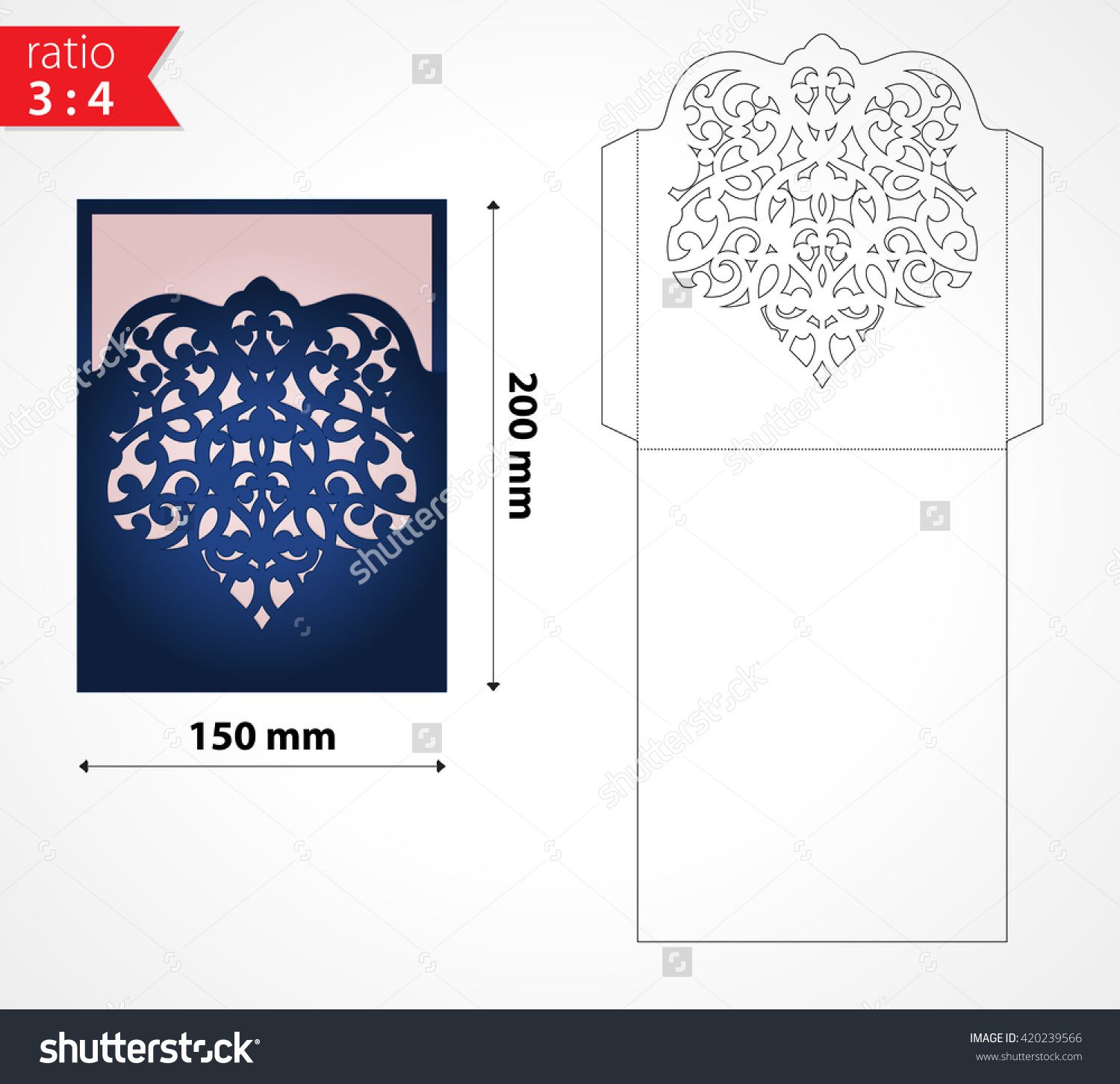 Vector laser cut envelope template. May be used for cutting machines ...