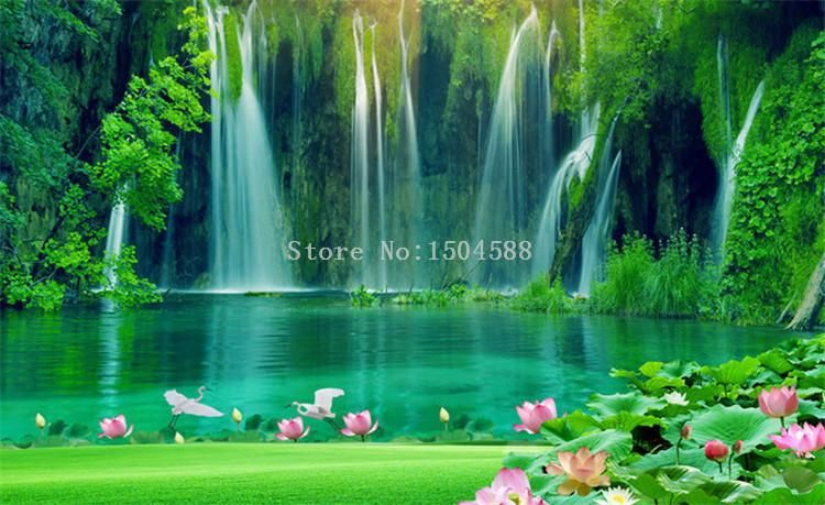 Serene Pond With Waterfalls Wallpaper Mural, Custom Sizes Available - Default Title