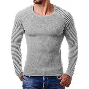 EightyFive Herren Feinstrick-Pullover Gerippt Streifen Weiß Blau Schwarz  EF1695 d9051411ca