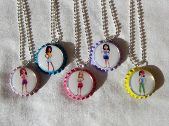 Lego Friends Bottle Cap Necklaces