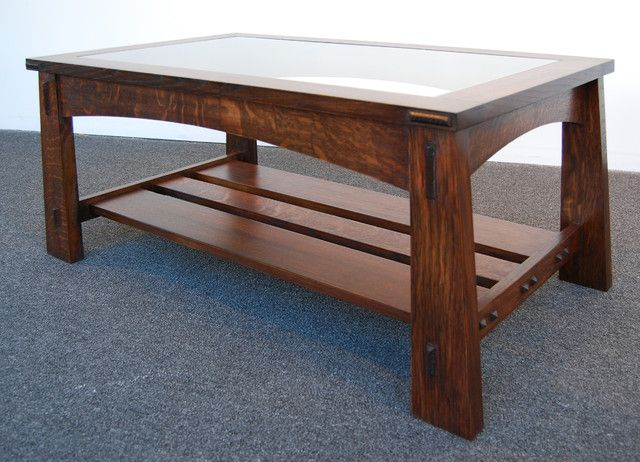 Mission Style Tile Top Oak Coffee Table