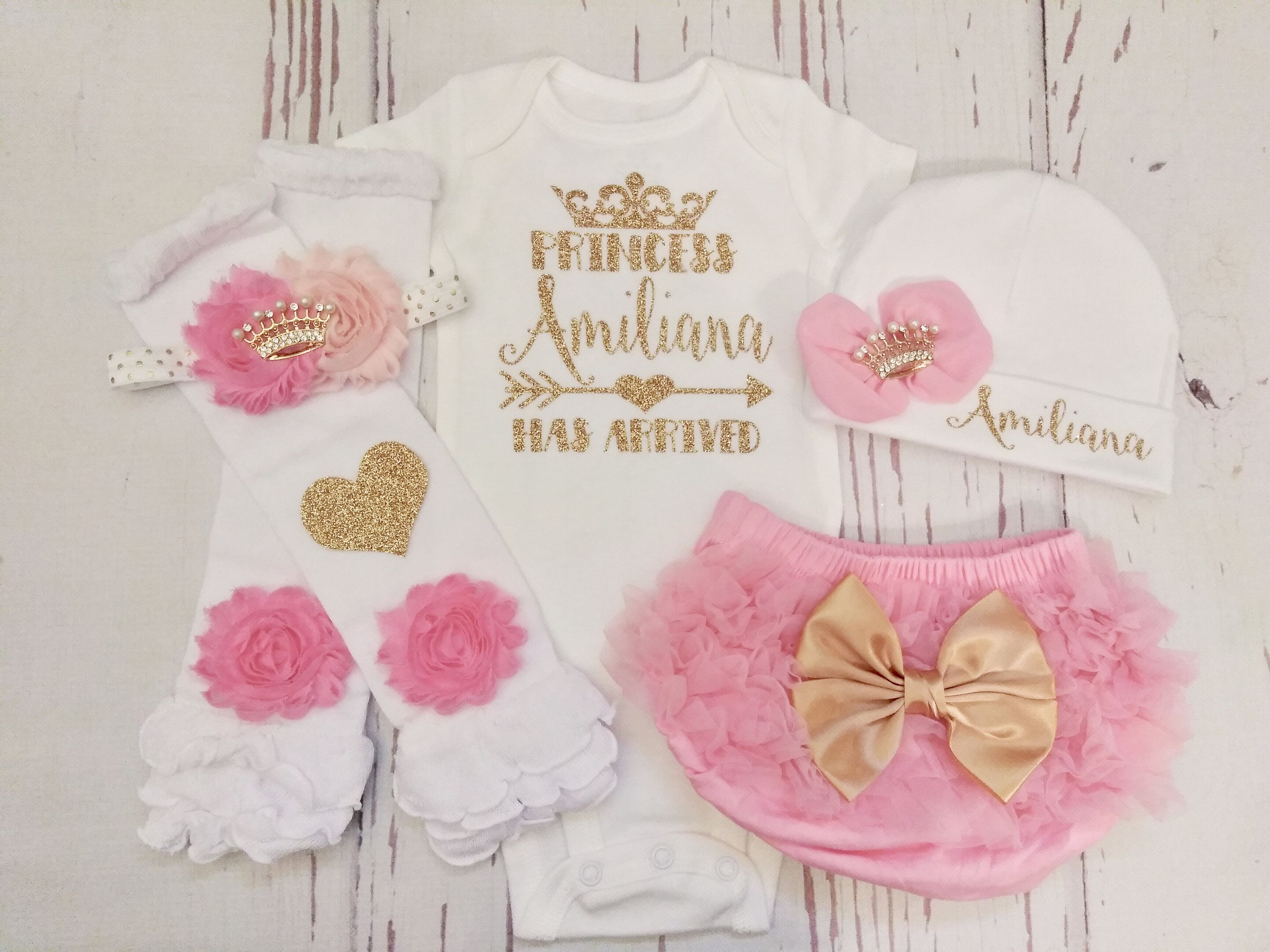 Hello World Newborn Girl Coming Home Outfit Pink Headwrap Bow Personalized Baby Girl Bodysuit With Gold Glitter Donut Baby Pants