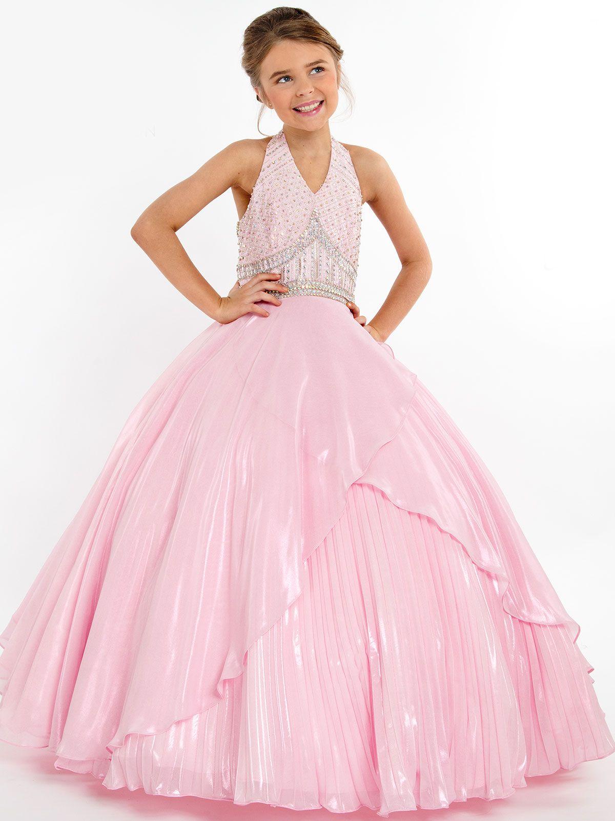 3683667d8 Rachel Allan Metallic Chiffon 1714 Pageant Gown