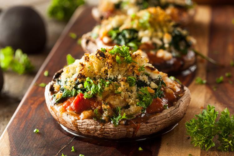 Cheesy Stuffed Portobello Mushrooms Recipe Food Stuffed Mushrooms Ideal Protein Recipes
