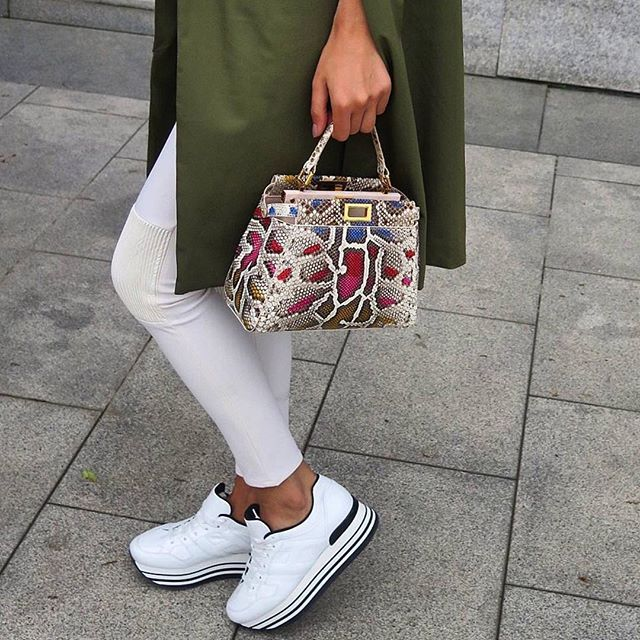 nadineabdelaziz wearing  HOGAN  H222 Maxi Platform  sneakers Join the   HoganClub  lifestyle and share with us your  hoganbrand pictures on  Instagram fba8465f76a