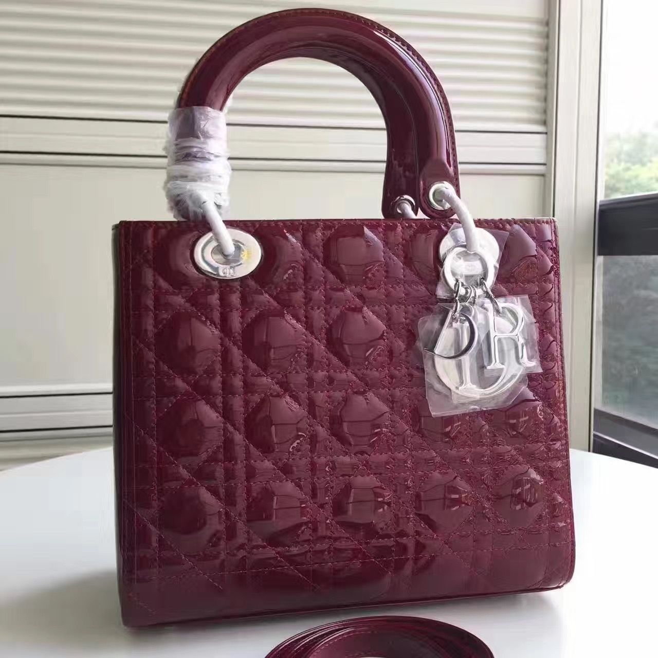 Dior Lady Dior Medium Bag In Patent Leather Burgundy (SH)  65e0cc494d3c6