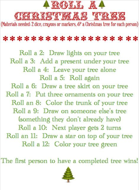Roll a Christmas Tree kids\u0027 game Clever crafts Pinterest