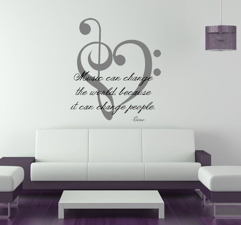 Music Change World U2 Bono The Edge Vinyl By Vinylwalllettering Music Bedroom Music Wall Decor Music Room Art