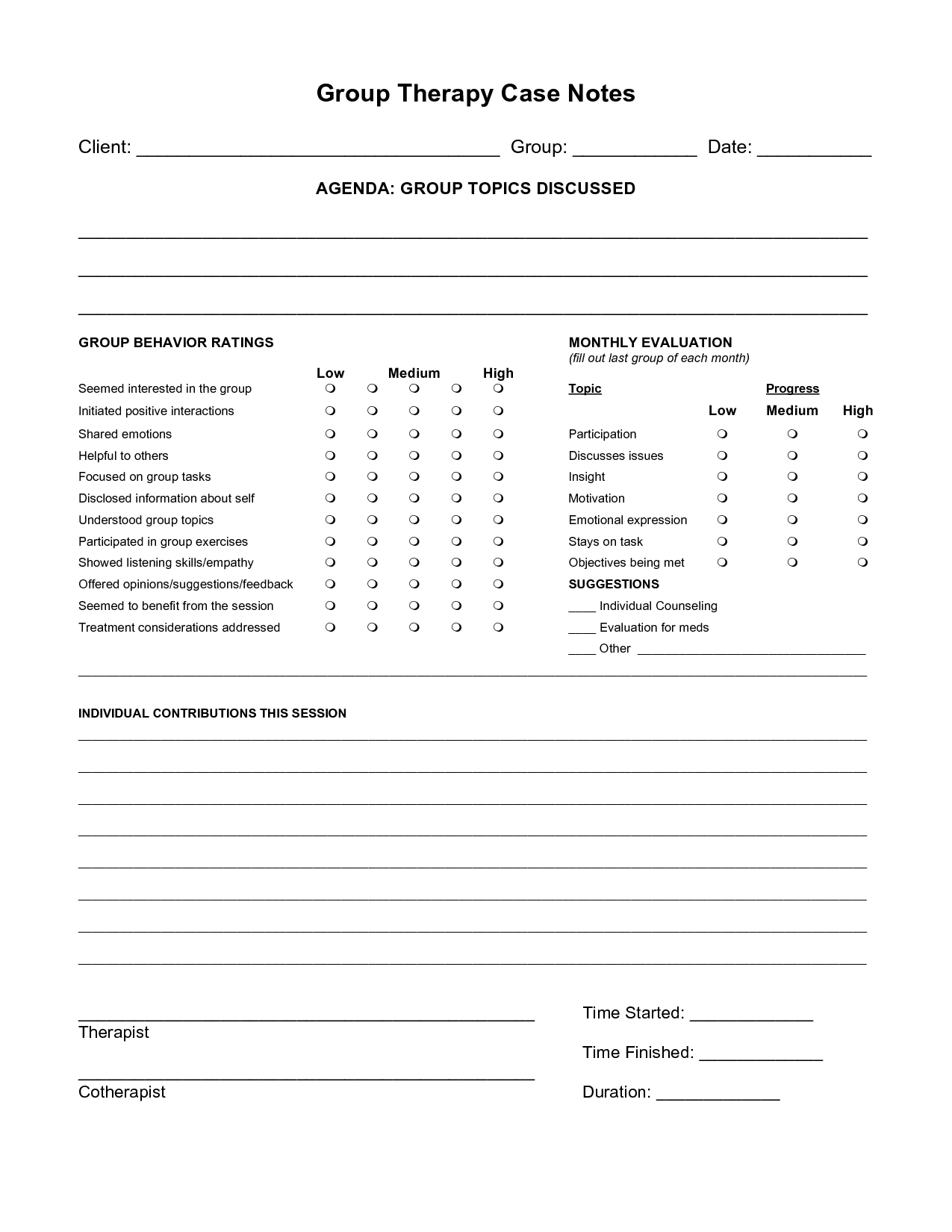 alcohol management plan template - free case note templates group therapy case notes for