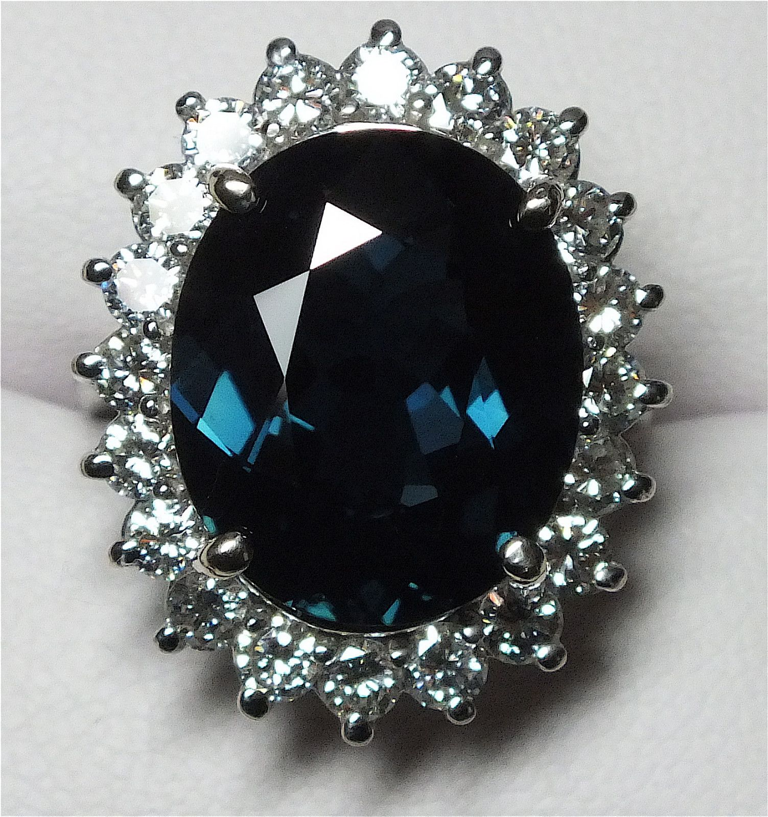 Princess Diana Style 14.59 Carat Sapphire & Diamond Ring