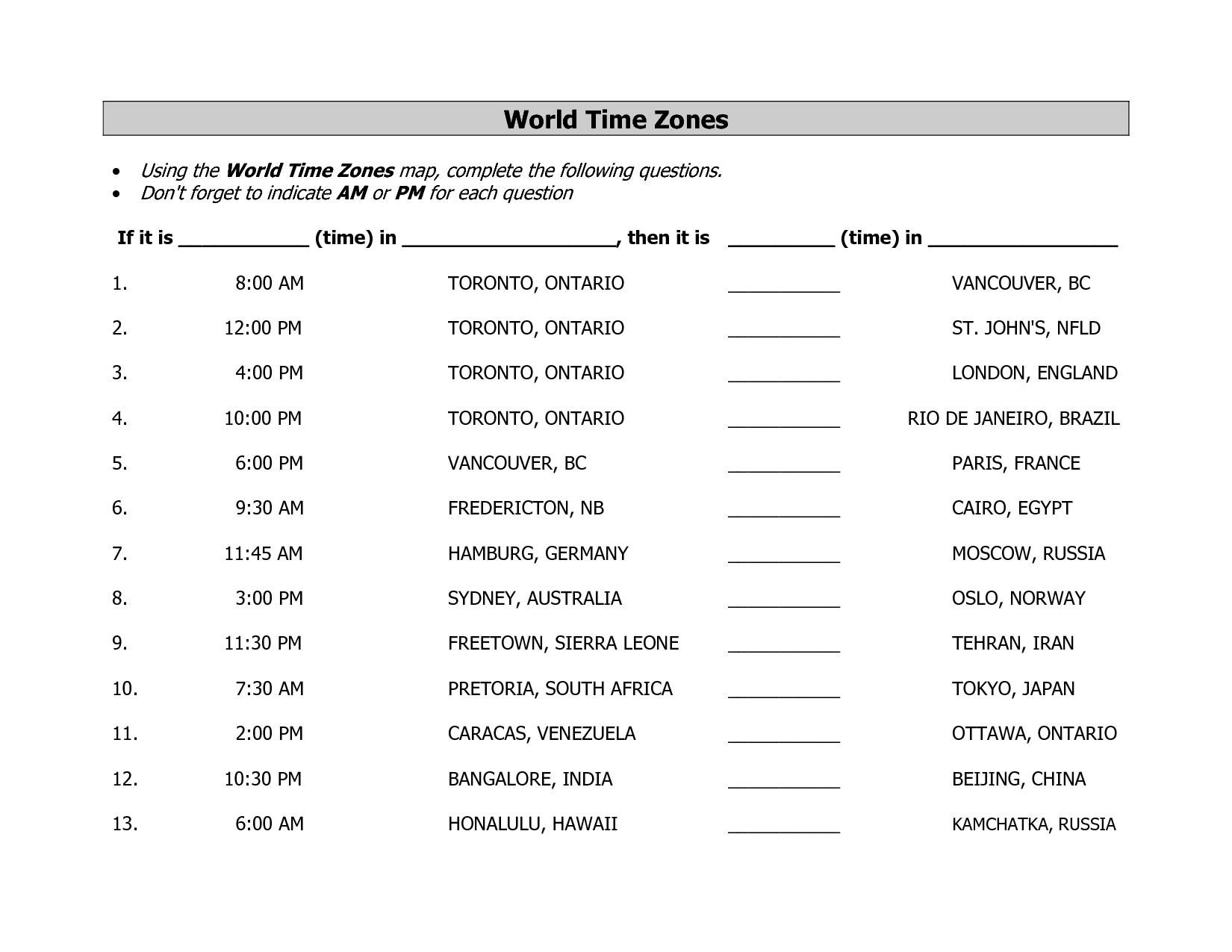 Time Zone Worksheet Canada   Printable Worksheets and Activities for  Teachers [ 1275 x 1650 Pixel ]