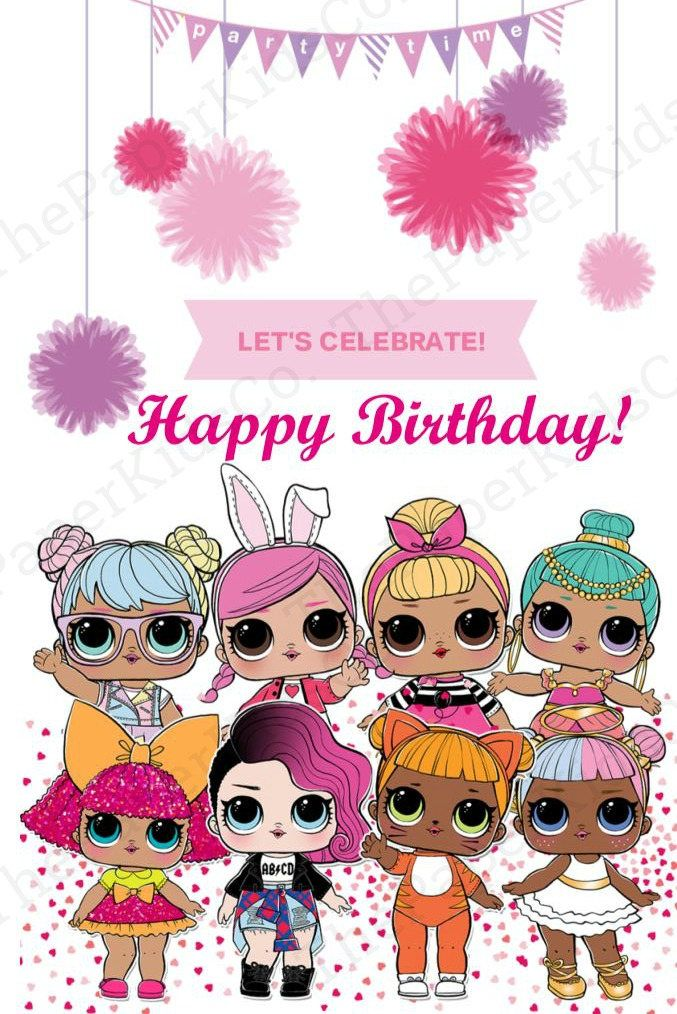 Lol surprise dolls custom made birthday card for her bookmarktalkfo Images