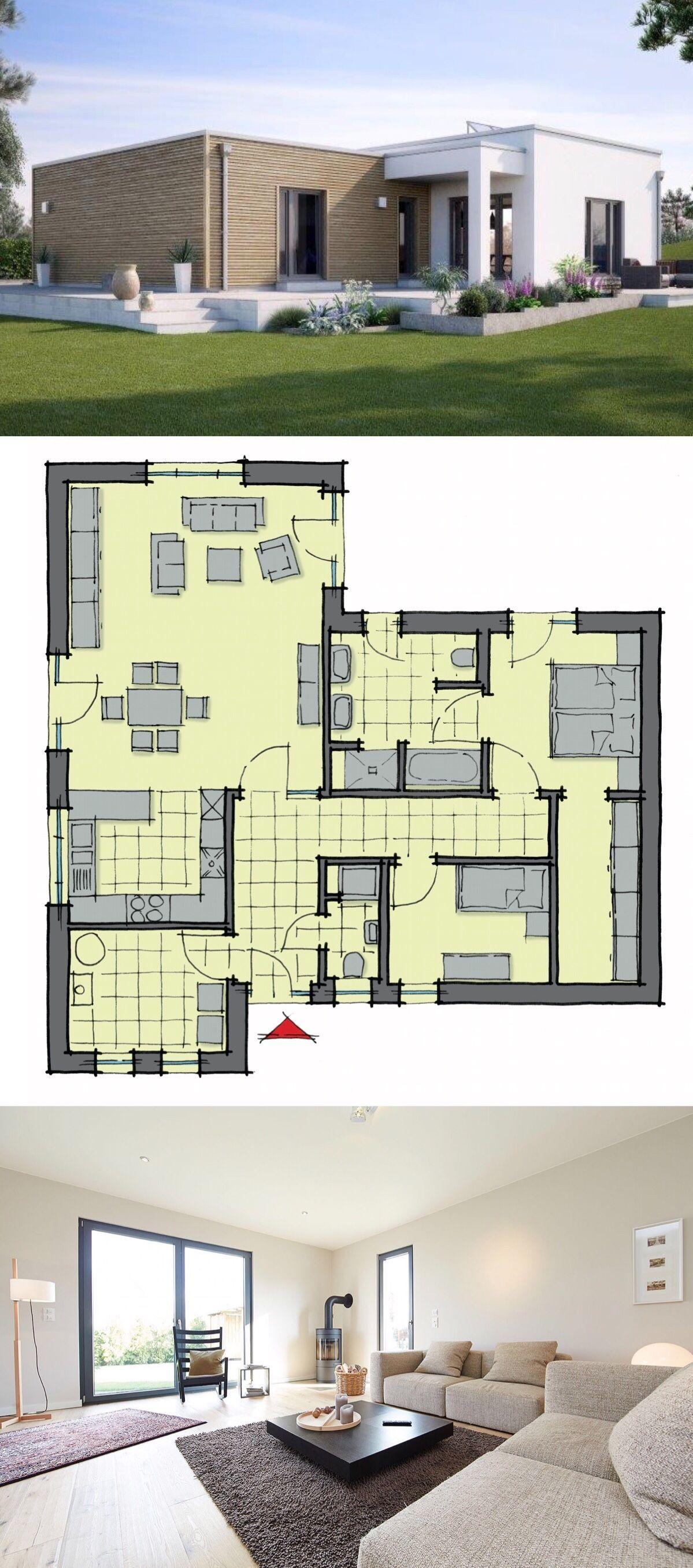 bungalow haus mit flachdach architektur im bauhausstil holz putz fassade 3 zimmer grundriss