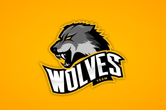 Wolf mascot sport logo design by provector on @creativemarket