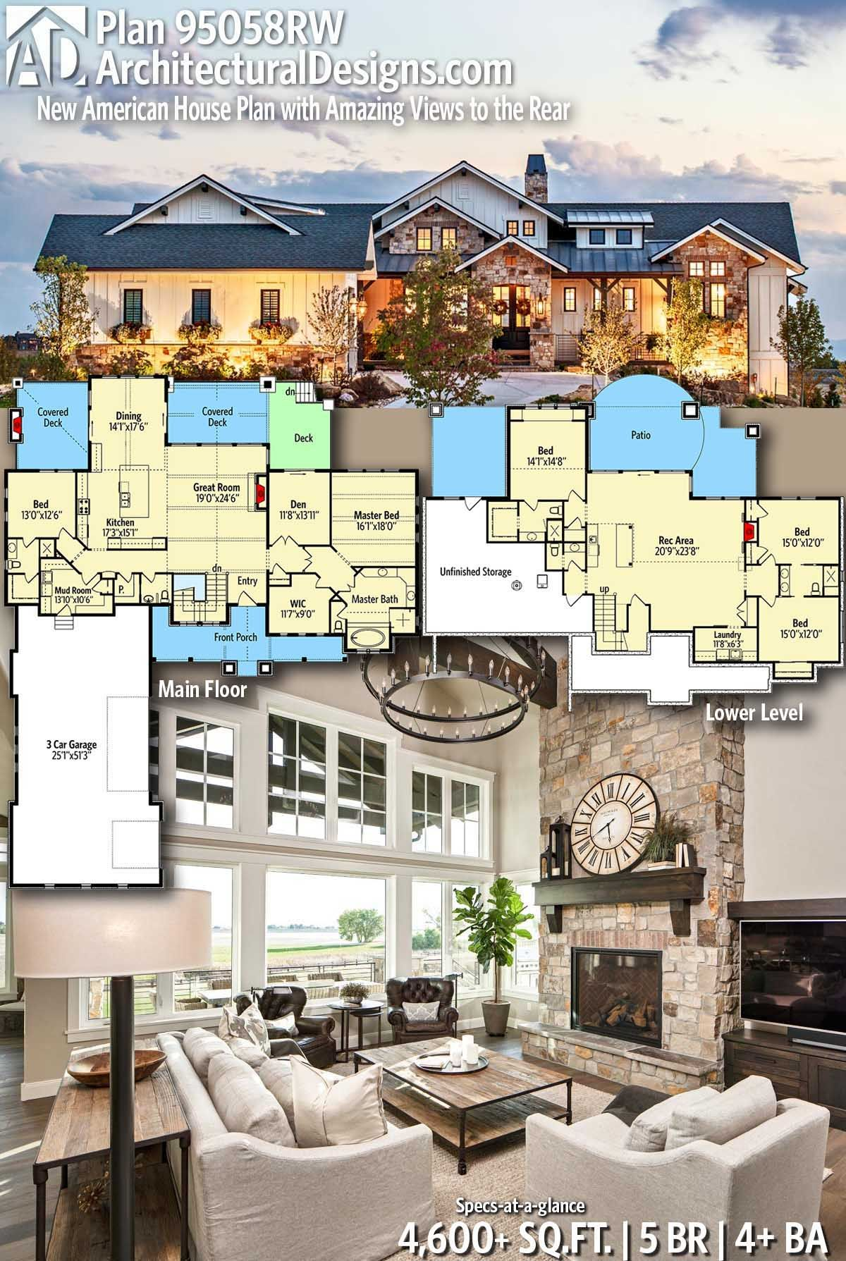 Plan 95058rw New American House Plan With Amazing Views To The Rear House Plans Bedroom House Plans Dream House Plans
