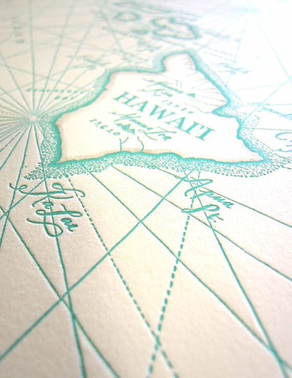 Hawaiian Islands, Letterpress printed Map | Things for My Wall
