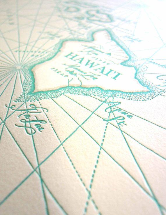 hawaiian islands letterpress map