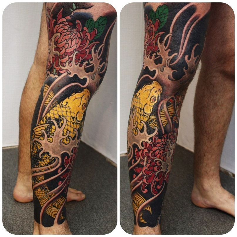 Japanese Fish Legs Tattoo Tattoos Flower Leg Tattoos Leg Tattoos