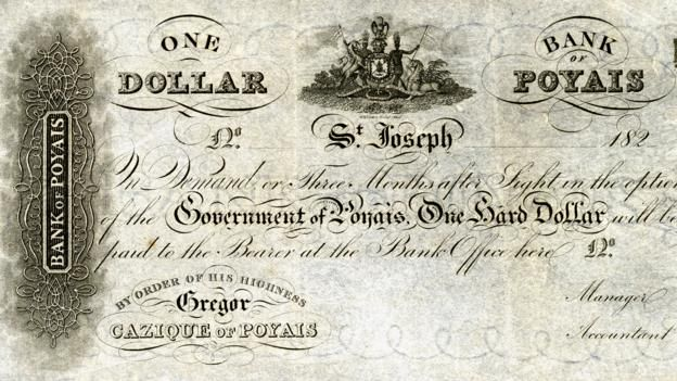 MacGregor designed currency that was supposedly used in his fictional land (Credit: National Museum of American History/Wikipedia)