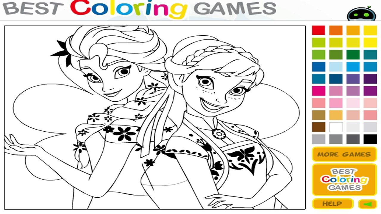 Frozen Elsa Anna Sisters Coloring Game Disney Princess Coloring