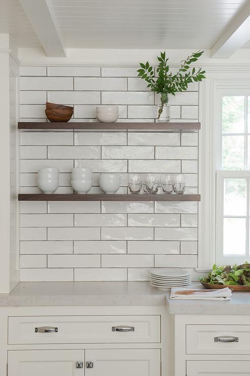 Best Gorgeous White Kitchen Boasts Dark Stained Floating 400 x 300