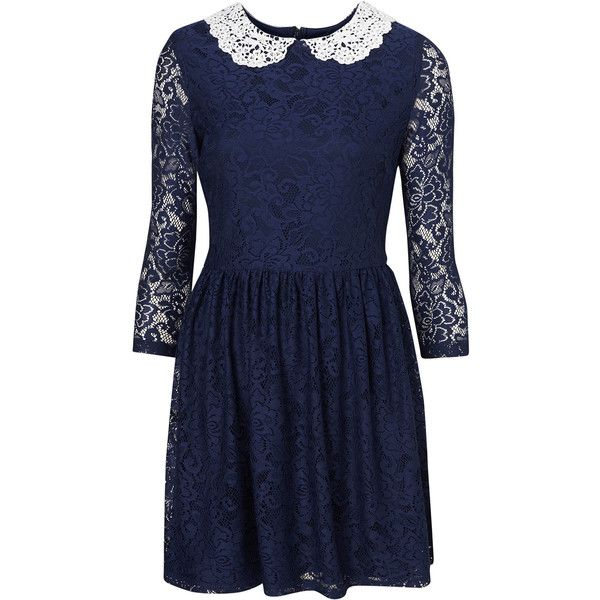 Lace Peter Pan Dress ($55) ❤ liked on Polyvore featuring dresses, vestidos, topshop, lace, navy blue, blue lace dress, peter pan collar dress, blue peter pan collar dress, navy blue peter pan collar dress and lace dress