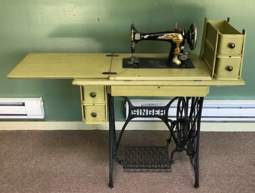 Vintage4040sSingerSewingMachineWoodCabinetWroughtIron Extraordinary Singer Sewing Machine 1950 In Cabinet