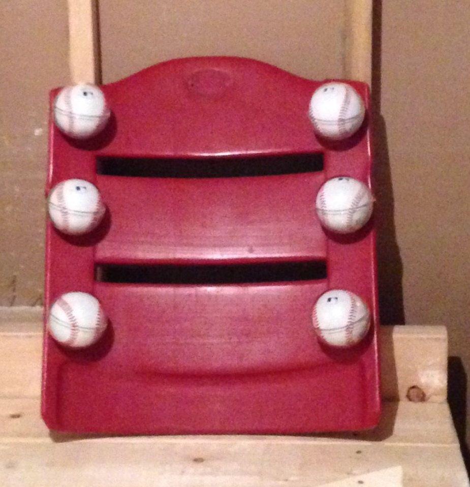 Cincinnati Reds Great American Ball Park Baseball Holder Display + Seat Bottom - GABP Memorabilia by 2Markers on Etsy https://www.etsy.com/listing/260497602/cincinnati-reds-great-american-ball-park