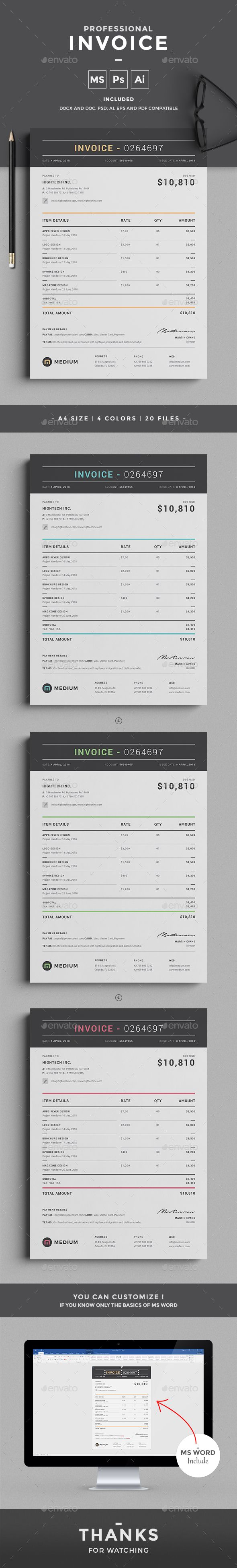 Invoice by design-park This professional clean Invoice template will help you in...