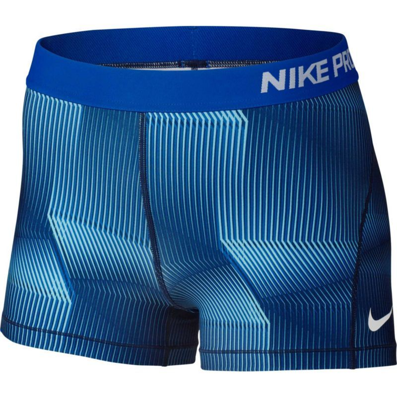 Nike Women's 3'' Pro Cool Pyramid Printed Shorts, Blue