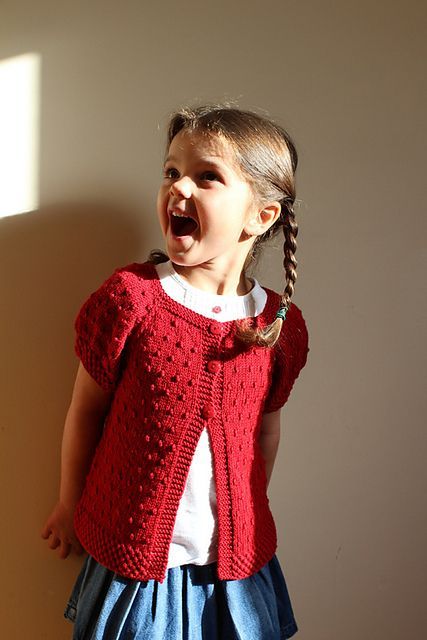 Little girl's short sleeve red cardigan.....so cute ...