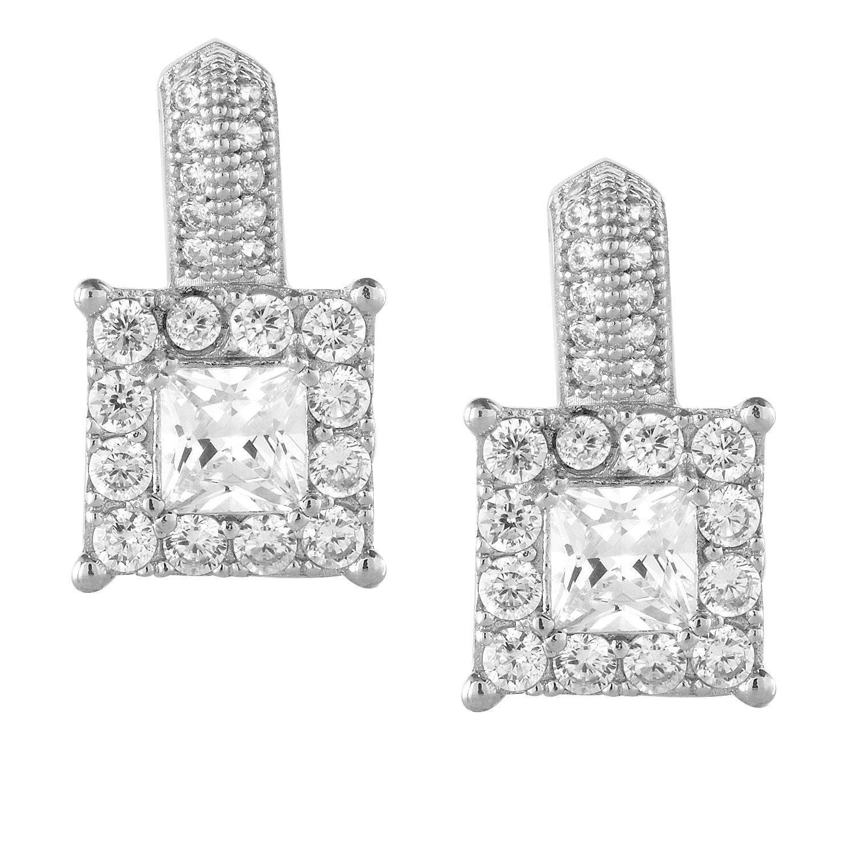 La Preciosa Sterling Silver Micro Pave Cubic Zirconia Square Earrings, Women's, Size: Medium, White