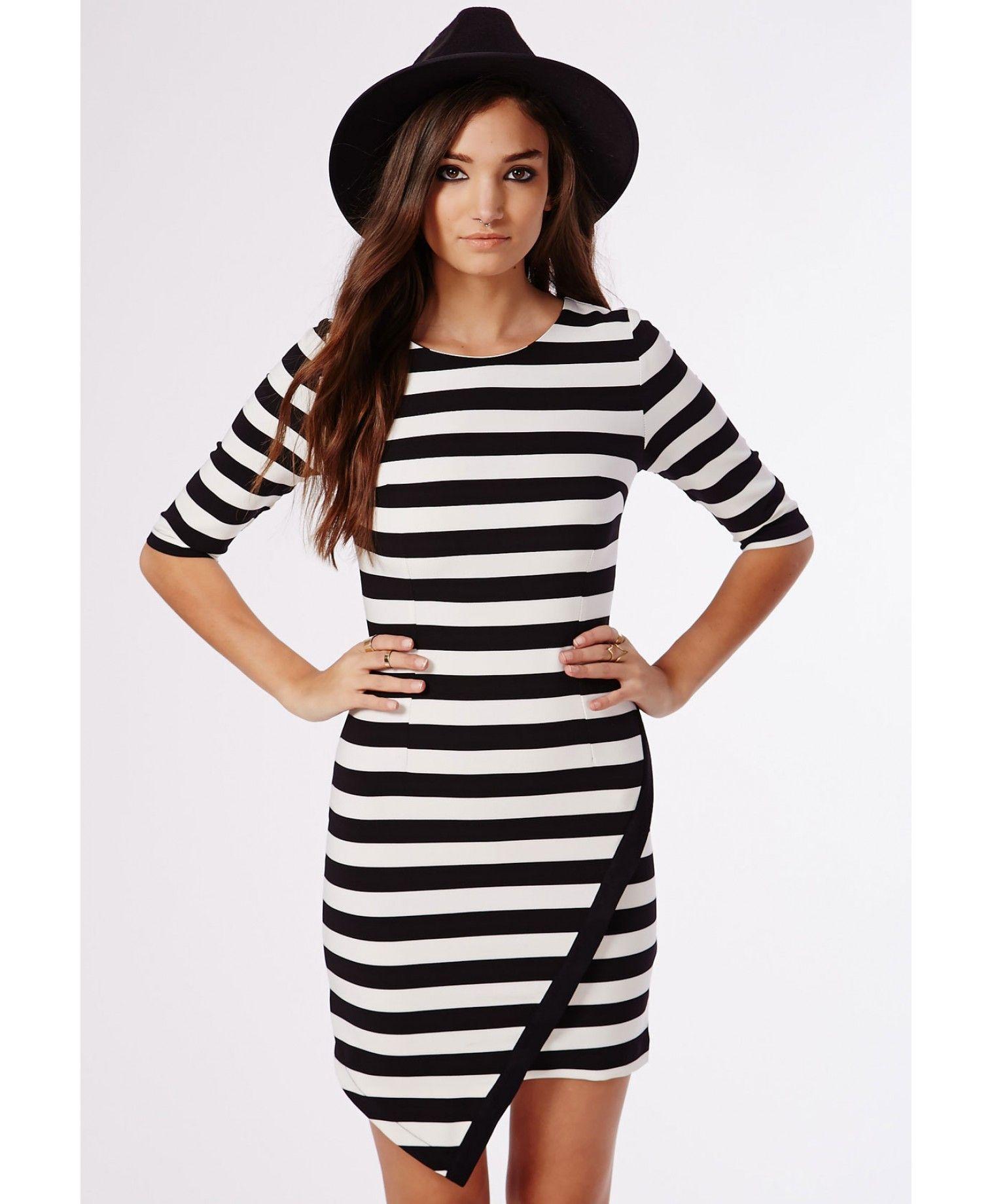 3d9eb0b7bc25 Val Asymmetric Hem Shift Dress Black/White Stripe - Dresses - Shift Dresses  - Missguided