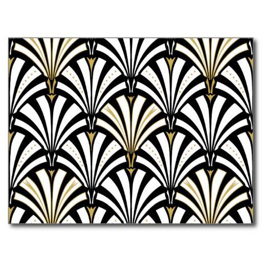 Art Deco Fan Pattern Black And White Postcard Zazzleca