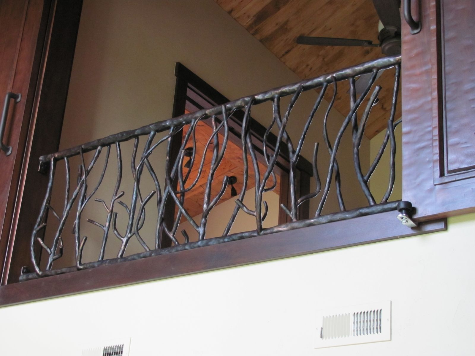 Hand Made Tree Branch Outdoor Railing By Iron Mountain Forge Homes In