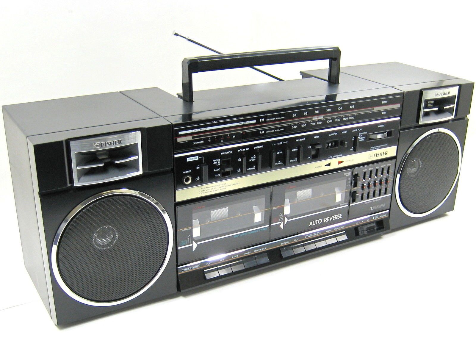 AWESOME VINTAGE FISHER Boombox Ghettoblaster Ph-W464 Am/fm ...