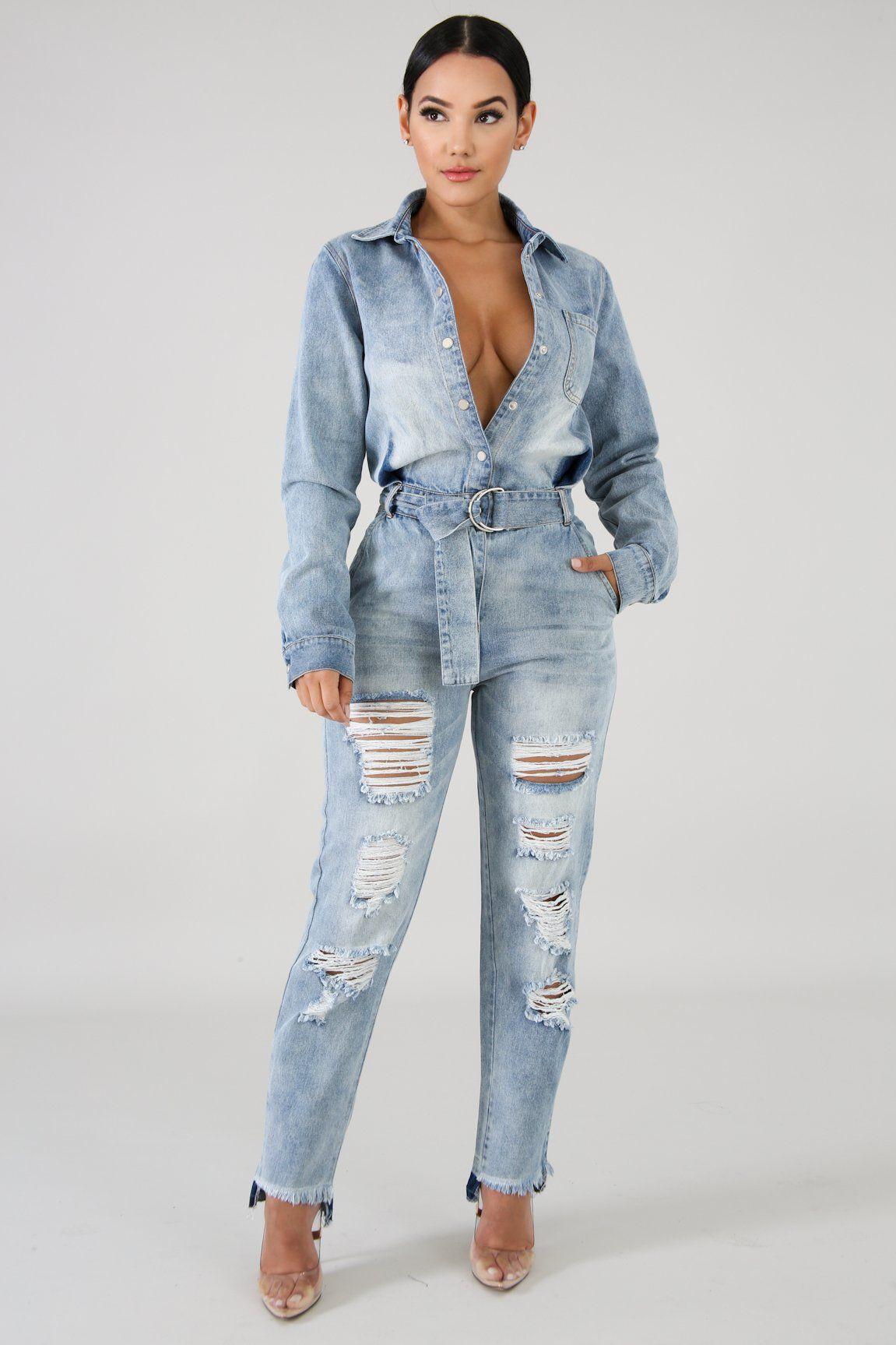 Rustic Denim Jumpsuit Denim Fashion Denim Blouse Outfits Chic Denim Outfits
