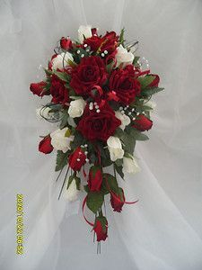 Red Ivory Rose Brides Wedding Flowers Shower Bouquet