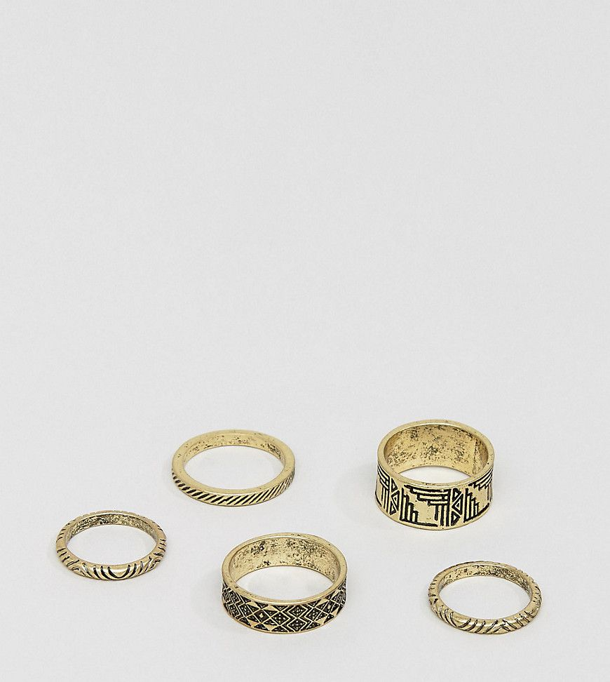 Asos DESIGN Signet Ring Pack In Gold And Silver - Multi EEP2Cg