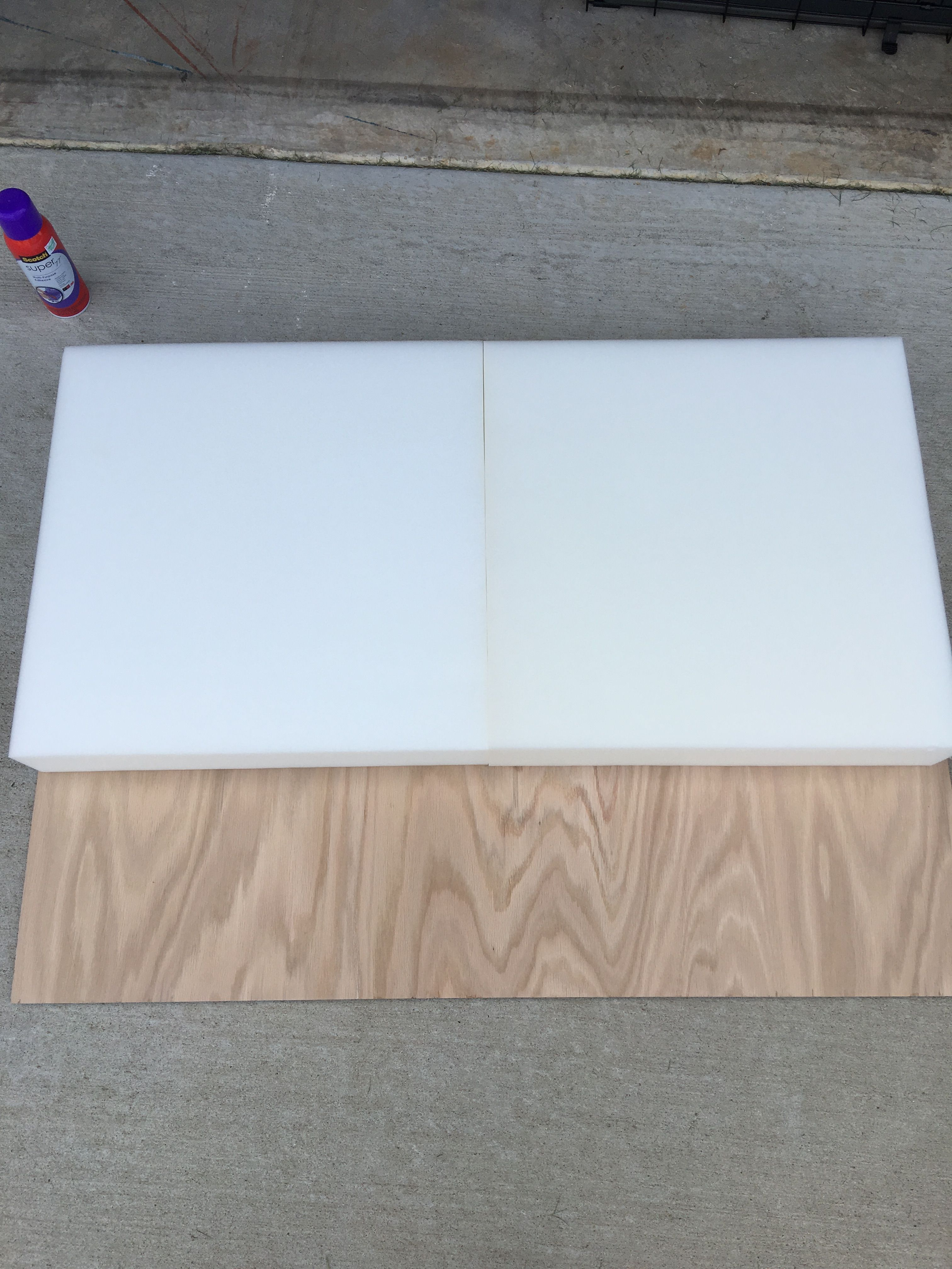 Use spray adhesive to attach foam squares to plywood Consider