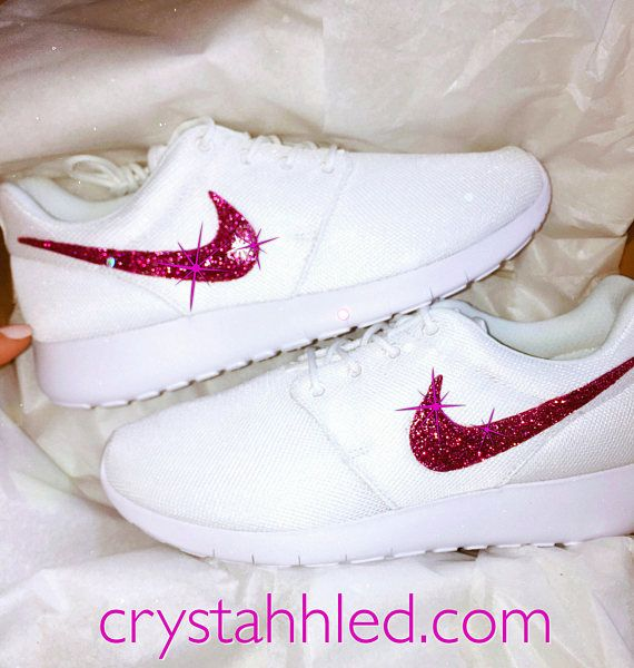 Women s Nike Bling Shoes Roshe One in Pure White with Pink Glitter Swoosh  sparkle blinged out 707929512