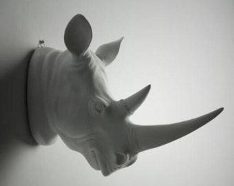 items similar to white faux rhino head wall mounting rhino head wall decor - Animal Head Wall Decor