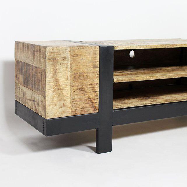 Meuble TV industriel en bois brossé TBIMTV