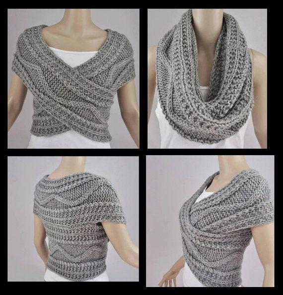 Grey Vest Jacket Bolero Snood Knitted by FrenchCrochetStory ...