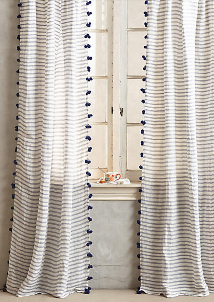 Blue And White Stripe Pom Pom Fringe Sheer Curtain Panels