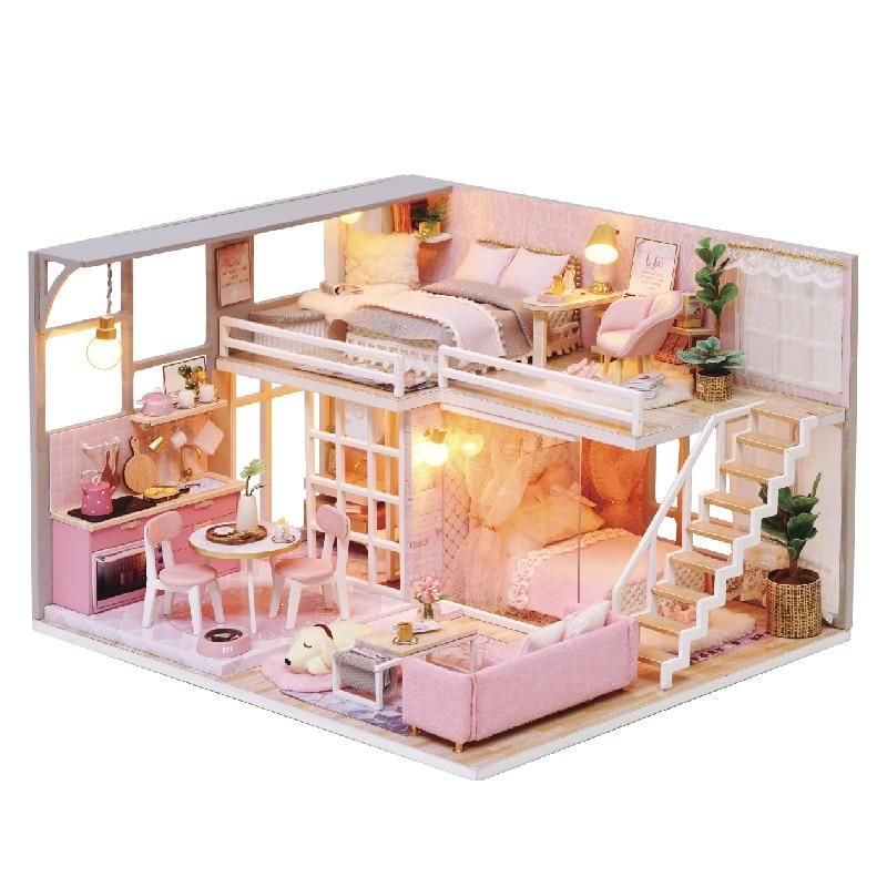 Diy Doll House Wooden Doll Houses Miniature Dollhouse Furniture