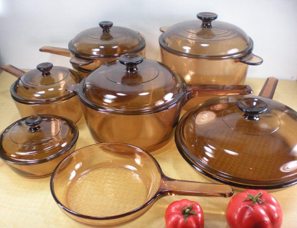 Corning Vision Amber Cookware Pots Pans 14 Pc Panelas De Vidro