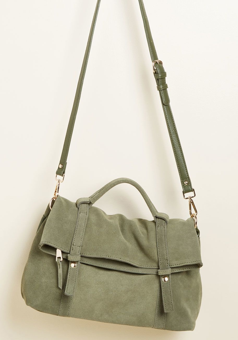 0e9a28db8c0b Leather to the Editor Suede Purse in Olive in 2019