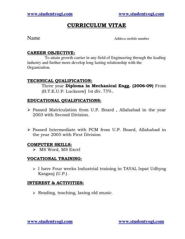 Tags Resume For Fresher Mechanical Engineering Student Download