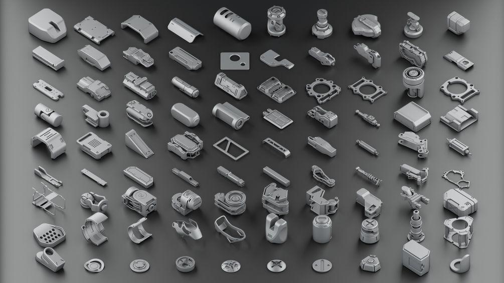 Download 300 free kitbash 3D Model part Vol 2 - 3 | 3D Model